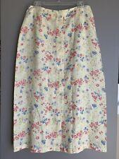 LIZ CLAIBORNE Linen Floral Maxi Skirt 14P Size Multicolored Yellow Buttoned