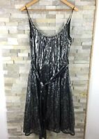 French Connection Ladies Size 14 Strappy Polka Dot Silver Belted Dress Metallic
