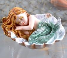 Small Mermaid Figurine Green Fins Sleeping On Clam Shell Ornate Fantasy Decor