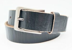 "BLACK FULL GRAIN Buffalo Leather Men's 1.5"" Belt Strap with Buckle Casual Jeans"