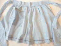 Apron Vintage Half Apron 1970's Handmade Blue Gingham Check Cotton
