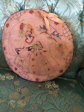 Lovely Antique Embroidered Figural Needlework Pink Girl With Bonnet #A