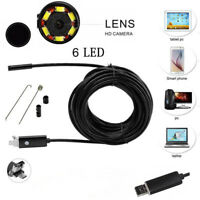5M 7mm Android Endoscope Snake Borescope USB Inspection Camera 6 LED IP67