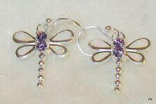 Genuine 925 Sterling Silver White Opal Dragonfly Dangle Earrings