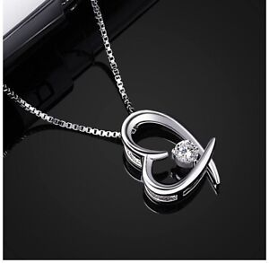 """Stunning B.Catcher 925 Sterling Silver Necklace Heart Pendant 18"""" New Boxed"""