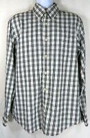 Michael Kors Men Shirt Size Large L Black White Plaid Casual Button Down Cotton