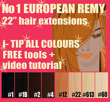 "MICRO BEAD 22"" EUROPEAN REMY i-tip Double Drawn HAIR EXTENSIONS + FREE TOOLS"
