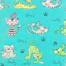 Fat Quarter Furry Friends Cats Cartoon Turquoise Cotton Quilting Fabric Nutex