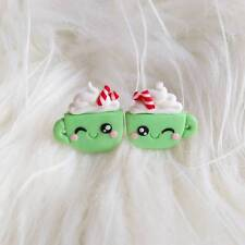 Polymer Clay Kawaii Christmas Gifts For Girls Green Cup Funny Earrings Jewelry