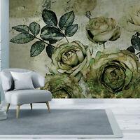 VLIES FOTOTAPETE Blumen TAPETE Schlafzimmer WANDBILDER XXL grün