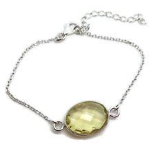 Lemon Quartz oval Fine Bracelet solid Sterling Silver, Actual One, Multifaceted