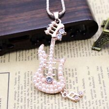 Fashion Women Crystal Pearl Guitar Pendant Long Chain Sweater Necklace Gift