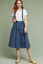 Anthropologie suspender skirt striped linen/cotton L large NWT