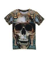 Skull in Glasses Patterned T-Shirt (funny 3d print skull t shirt)