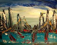 Storm  Seas SUPERB  ORIGINAL   Painting  Stretched  IMPRESSIONIST KAZAV