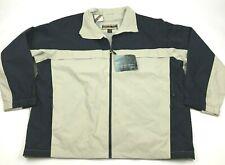 NEW North End Windbreaker Jacket Mens Size 2XL XXL Blue Tan Ripstop Nylon Zip Up