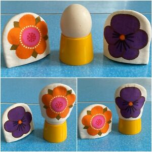 VTG 60s 70s Lena Eklund Scandi Egg Cosies Retro Flower Power Laurids Lonborg