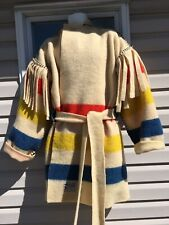 M WOOL BLANKET BLACK POWDER MOUNTAIN MAN CAPOTE COAT JACKET STRIPE RENDEZVOUS