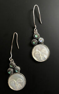Hand Carved Full Moon Mother of Pearl Abalone Dangle Earrings Handmade Jewelry
