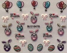 Nail Art 3D Sticker Glitter Decals Easter Bunny Easter Egg Balloons BLE1047D