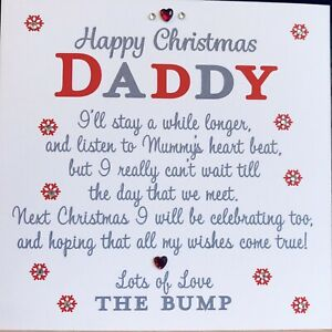 Handmade personalised Christmas Card Daddy To Be From The Bump Baby Red🤰❤️