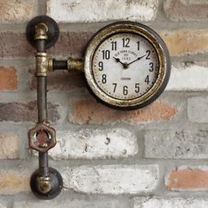 Industrial Retro Pipe Wall Clock Vintage Look Steampunk Metal Fittings