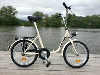 """Folding City Bicycle 1 Speed Bike 20"""" inch steel frame-quality processing BEIGE"""