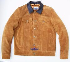 Men TRUCKER Tan Suede Classic Western Denim Style Leather Jacket Brown Collar