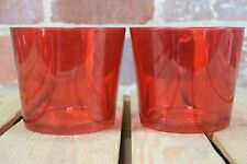 "Set of 2 Red Ikea Cylinder Vases 5"" x 5 1/2"""