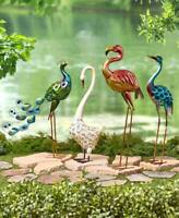 Colorful Metallic Bird Swan Heron Peacock Flamingo Garden Statue Outdoor Decor