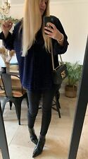 VINTAGE BLUE DEVORE VELVET OVERSIZED SHIRT TOP LONG SLEEVE 8 10 12