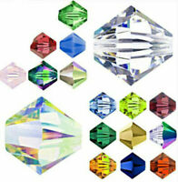 4mm 6mm Czech Crystal Clear Bicone Jewelry Diy Glass Acrylic Spacer Beads Du