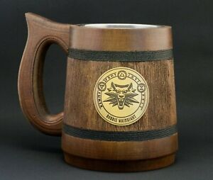 Personalized Witcher Mug Special Gifts With Name For Gamer Wolf Medallion Stein