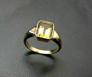 Golden Citrine Ring Solitaire UK- L 9ct Gold Sheffield HM c1994 Nice Quality !