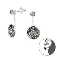 Sterling Silver 925 Grey Crystal Round Bali Ear Jacket / Double Earrings
