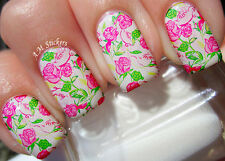 Pink Roses A1029 Nail Art Stickers Transfers Decals Set of 22