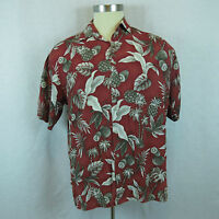 Campia Red Pineapple Palm Trees Men's Large Hawaiian Casual Bowling Shirt