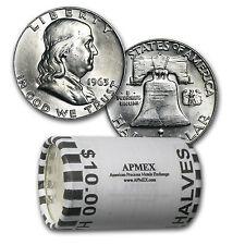 90% Silver Franklin Halves $10 20-Coin Roll BU - SKU #26360