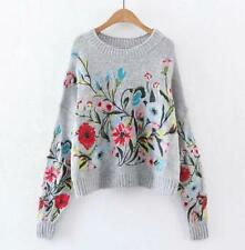 ladies Softly Wool Blend Floral Embroidered sweater Jumper gery Sweater Cardigan