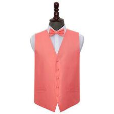 DQT Woven Plain Solid Check Coral Mens Wedding Waistcoat & Bow Tie Set