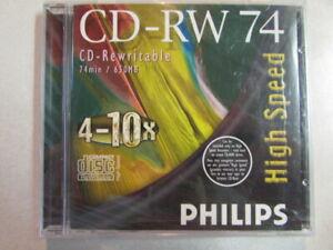 PHILIPS HIGH SPEED CD-RW 74 CD-REWRITABLE 650MB 4-10X 4021587502356 UPC (SEALED)