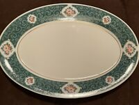 Tienshan Fine China Green Gold Edge 14 Inches Oval Serving Platter EUC