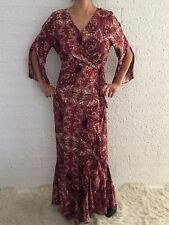 Women's 3/4 Sleeve Boho Summer Wrap Maxi Long Party Casual Evening Dress Size 14