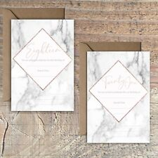 BIRTHDAY INVITATIONS BLANK ROSE GOLD MARBLE PRINT EFFECT 18TH, 21st PACKS OF 10