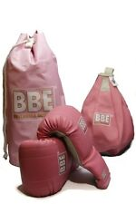 BBE Pink Boxing Bag Gloves/Mitts with Speed Ball & Carry Bag