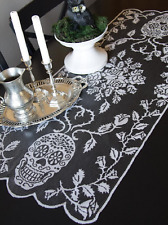 "Heritage Lace SUGAR SKULLS 18"" x 44"" Table Runner - Halloween - Pewter, Black"