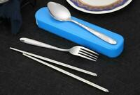 Portable Lunch Tableware Cutlery Set Stainless Steel Spoon Fork Chopsticks