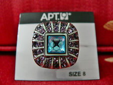 Apt. 9 Fashion Jeweled Ring Costume Size 8 NWT