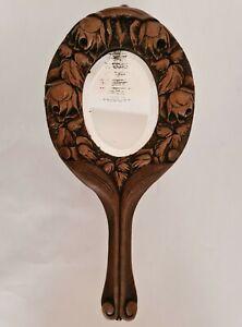 Ancien Miroir à main Bois Fleurs sculptées Art Populaire Art-Nouveau vers 1900