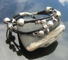Genuine Black Leather Cord Bracelet with 925 Sterling Silver Ends and Clasp